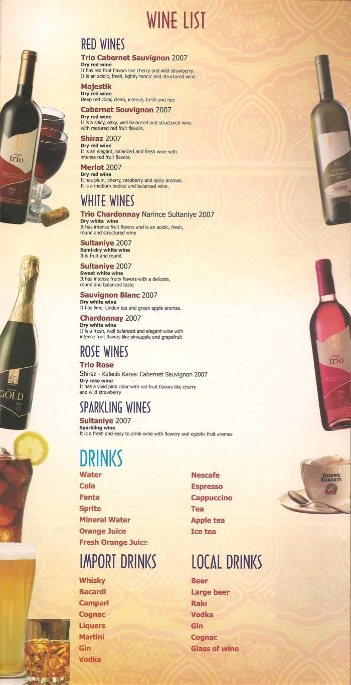 planet yucca kusadasi wine list